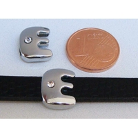 Perle Métal argenté vieilli PASSANTE Strass LETTRE E 12mm par 1 pc