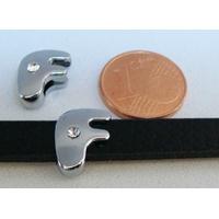 Perle Métal argenté vieilli PASSANTE Strass LETTRE F 12mm par 1 pc