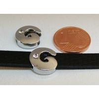 Perle Métal argenté vieilli PASSANTE Strass LETTRE G 12mm par 1 pc