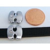 Perle Métal argenté vieilli PASSANTE Strass LETTRE H 12mm par 1 pc