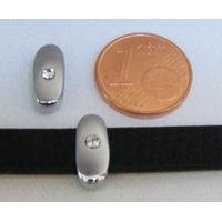 Perle Métal argenté vieilli PASSANTE Strass LETTRE I 12mm par 1 pc