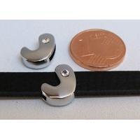 Perle Métal argenté vieilli PASSANTE Strass LETTRE J 12mm par 1 pc