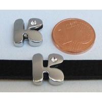 Perle Métal argenté vieilli PASSANTE Strass LETTRE K 12mm par 1 pc