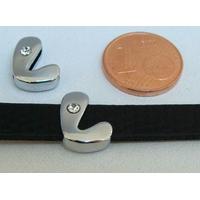 Perle Métal argenté vieilli PASSANTE Strass LETTRE L 12mm par 1 pc