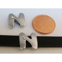 Perle Métal argenté vieilli PASSANTE Strass LETTRE N 12mm par 1 pc