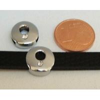 Perle Métal argenté vieilli PASSANTE Strass LETTRE O 12mm par 1 pc