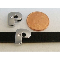 Perle Métal argenté vieilli PASSANTE Strass LETTRE P 12mm par 1 pc
