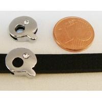 Perle Métal argenté vieilli PASSANTE Strass LETTRE Q 12mm par 1 pc