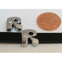 Perle Métal argenté vieilli PASSANTE Strass LETTRE R 12mm par 1 pc