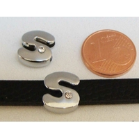 Perle Métal argenté vieilli PASSANTE Strass LETTRE S 12mm par 1 pc