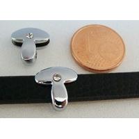 Perle Métal argenté vieilli PASSANTE Strass LETTRE T 12mm par 1 pc