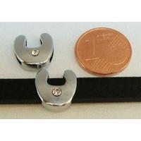 Perle Métal argenté vieilli PASSANTE Strass LETTRE U 12mm par 1 pc