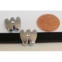 Perle Métal argenté vieilli PASSANTE Strass LETTRE W 12mm par 1 pc