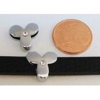 Perle Métal argenté vieilli PASSANTE Strass LETTRE Y 12mm par 1 pc