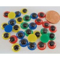 YEUX 8mm plastique fond uni mix couleurs pupille mobile Noire par 50 pcs