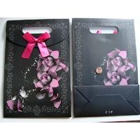 Pochettes Noir motif Fleur Rose Carton avec soufflet 26,5cm par 4 pcs