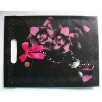 Pochettes Noir motif Fleur Rose Carton avec soufflet 32cm par 2 pcs