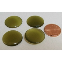 Cabochon Oeil de Chat Ronds 18mm VERT OLIVE par 4 pcs