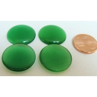 Cabochon Oeil de Chat Ronds 18mm VERT EMERAUDE par 4 pcs