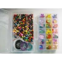 Kit assortiment de perles en bois + fils + boite casier par 1 pc