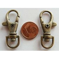 Fermoirs mousqueton porte-clés 35mm BRONZE par 50 pc