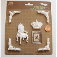 Embellissements résine blanc Chaise Couronne Coins MOD1 par 1 planche