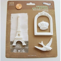 Embellissements résine blanc Tour Eiffel OIseau Couronne Cadre MOD2 par 1 planche