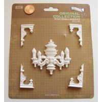 Embellissements résine blanc Lustre et 4 coins MOD7 par 1 planche
