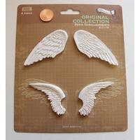 Embellissements résine blanc 2 paires d'ailes MOD8 par 1 planche