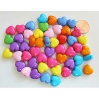 Perles Acrylique Coeur 11x6mm MIX couleurs par 50 pcs
