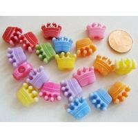 Perles Acrylique Couronne princesse prince 13x10x6mm MIX couleurs par 20 pcs