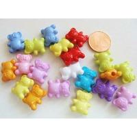 Perles Acrylique Ourson Nounours 14x12x7mm MIX couleurs par 20 pcs