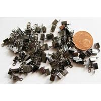 Embouts à écraser fins Noir Hématite 3x8mm par 100 pcs