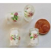 Perles verre Bande argentée TUBES 16mm BLANC par 4 pcs