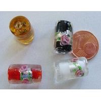 Perles verre Bande argentée TUBES 16mm MIX par 4 pcs