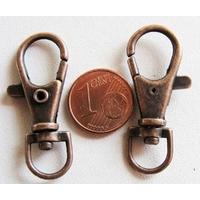 Fermoirs porte-clés mousqueton 35mm CUIVRE par 50 pc