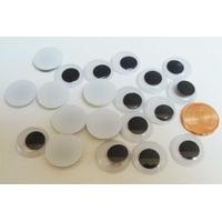 YEUX 14mm plastique fond Blanc pupille mobile Noire par 20 pcs