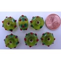 Perles verre Lampwork VERT picots vert rouge 8x13mm par 6 pcs