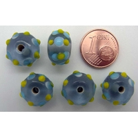 Perles verre Lampwork BLEU picots Bleu Jaune 8x13mm par 5 pcs