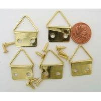 Crochets cadres attaches suspensions métal doré  + vis par 5 pcs