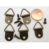 Crochets cadres attaches suspensions métal bronze + vis par 5 pcs