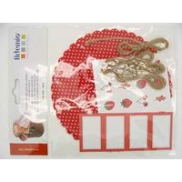 Décorations pour pots de confitures rouge ARTEMIO par 4 pcs
