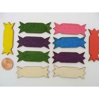 Embellissements Bois Etiquettes mix couleurs 44mm par 10 pcs