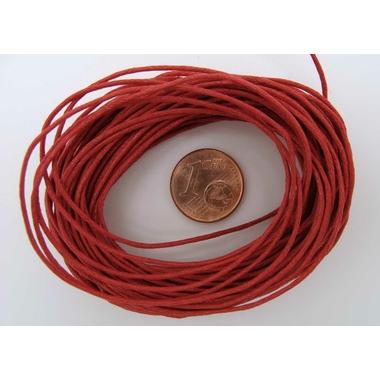 fil coton cire 1mm rouge cordon
