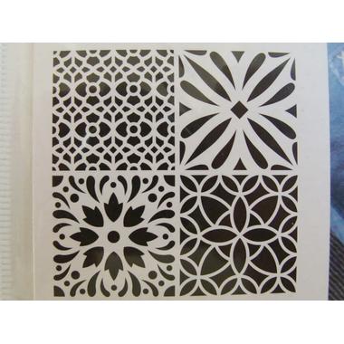 pochoir home deco 4 motifs mix2 style carreaux de ciment planche 30x30cm artemio d co divers. Black Bedroom Furniture Sets. Home Design Ideas