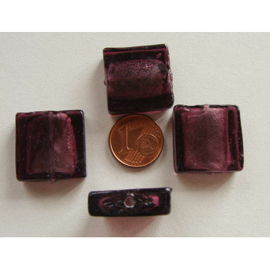 perle carre 20mm murano violet