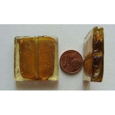 perle carre 30mm murano marron dore