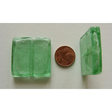 perle carre 30mm murano vert