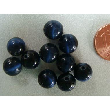 perle oeil de chat 8mm noir bleu