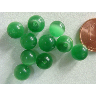 perle oeil de chat 8mm vert